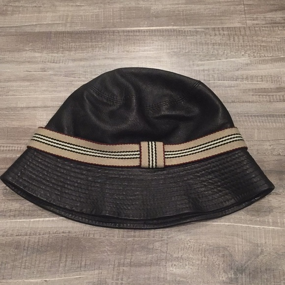 Burberry Accessories - Black Burberry Leather Bucket Hat Size M b729bf1272c
